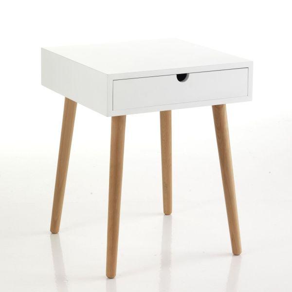 Comodino tavolino in legno massello e MDF Trilly