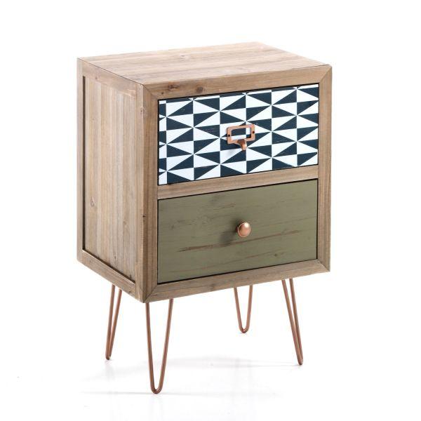 Comodino in legno massello e metallo design moderno Astrid
