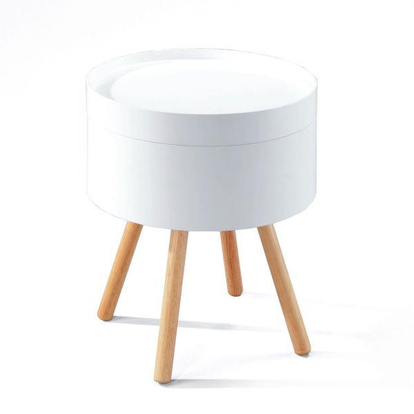 Tavolino comodino rotondo in legno e MDF Jonas