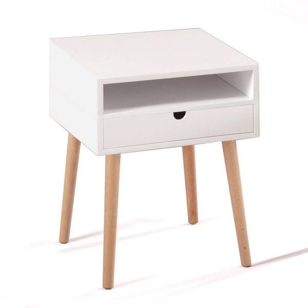 Tavolino comodino con un cassetto in legno e MDF Jeppe
