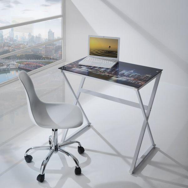 Scrivania porta PC in metallo e vetro con serigrafia Lukas