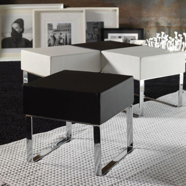 Pouff tavolino modulare in metallo ed ecopelle Kubby