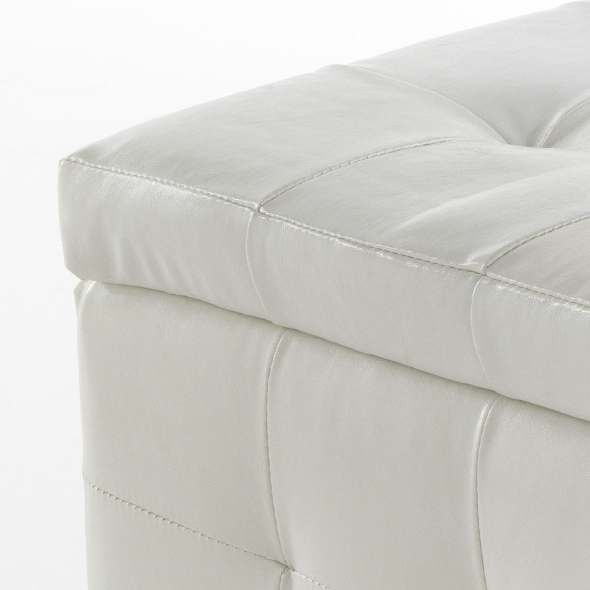 Pouf contenitore in ecopelle bianco Oddvar