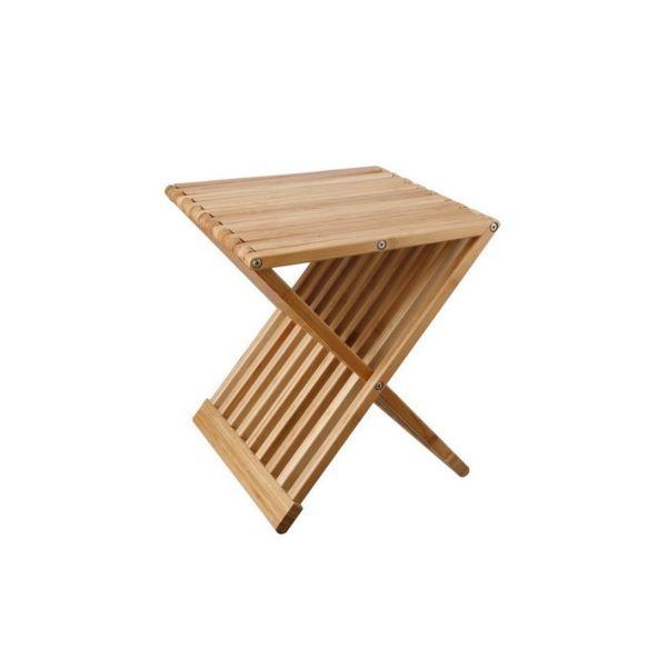 Pouf sgabello pieghevole salvaspazio in legno Trond