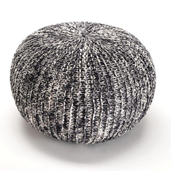 Pouf sferico in cotone intrecciato design moderno Birger