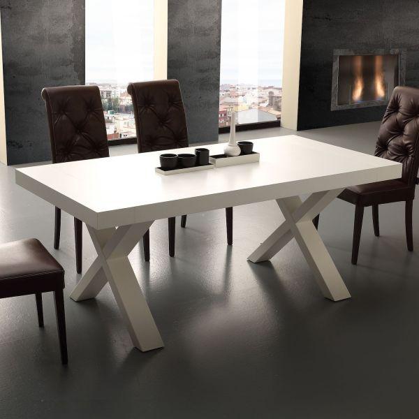 Tavolo allungabile in nobilitato bianco e rovere 160 x 90 cm Aras