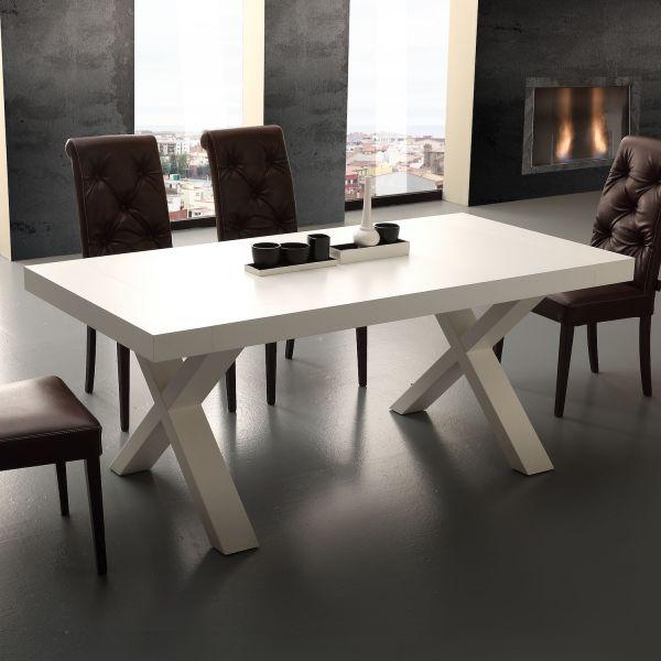 Tavolo Design Moderno Allungabile Aras In Nobilitato Bianco E Rovere 160 X 90 Cm Ebay