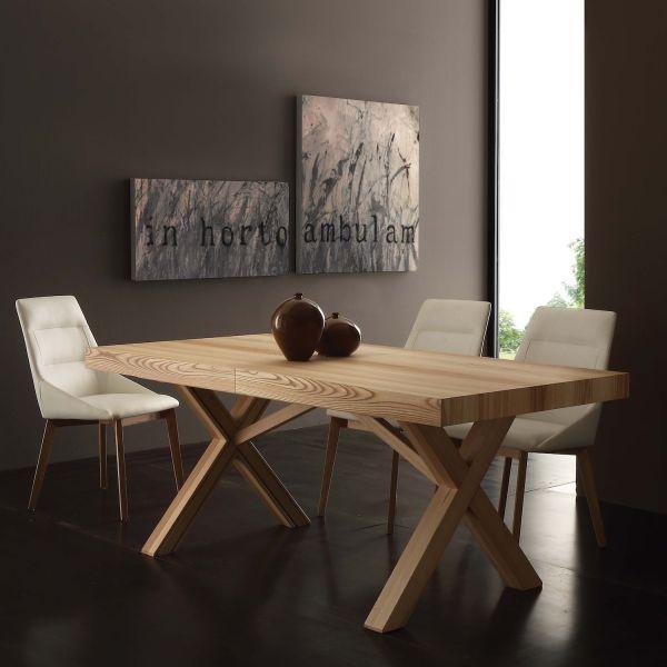 Tavolo allungabile in legno massello di frassino 180 x 90 cm Cales