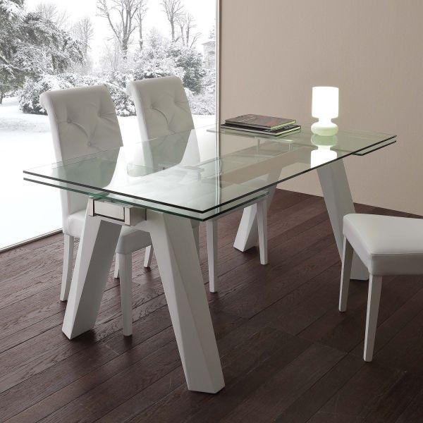 Tavolo da pranzo allungabile in acciaio e vetro Holger