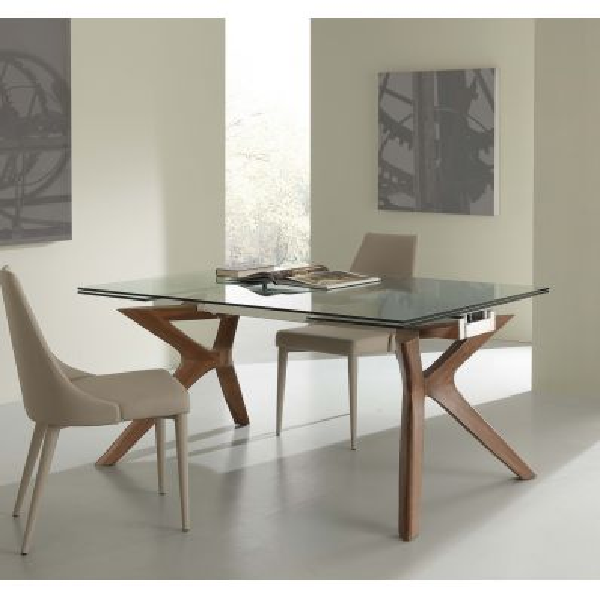 Tavolo allungabile in acciaio vetro legno 160 x 90 cm Nicklas