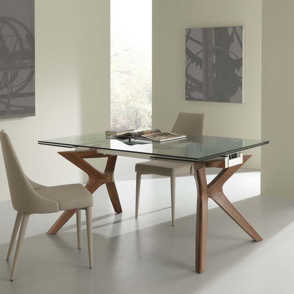 Tavolo Da Pranzo Allungabile Nicklas In Acciaio Vetro Legno 160 X 90 Cm Ebay