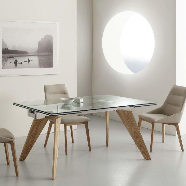 Tavolo allungabile in legno massello frassino 160 x 90 cm Leif