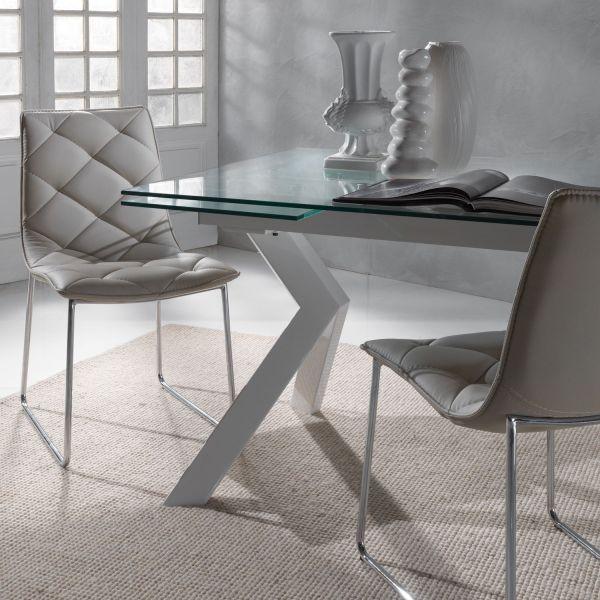 Tavolo allungabile moderno in metallo e vetro 160x90 cm Mats