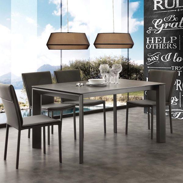 Tavolo allungabile piano vetro ceramica 140 x 90 cm Duarte