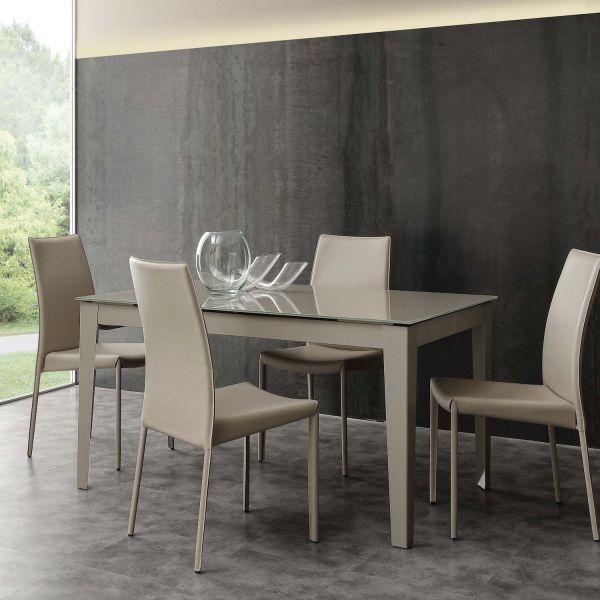 Tavolo allungabile in vetro design moderno 140 x 90 cm Esko