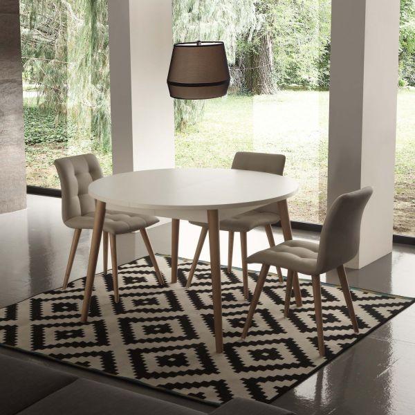 Tavolo rotondo allungabile con piano in nobilitato bianco e gambe in faggio Aramis