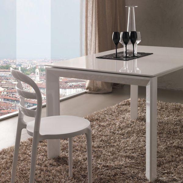 Tavolo da pranzo allungabile bianco lucido Valto