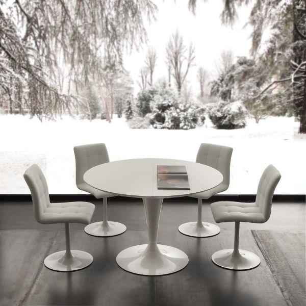 Tavoli Da Pranzo Rotondi In Vetro.Tavolo Da Pranzo Rotondo Allungabile Bianco Sulevi