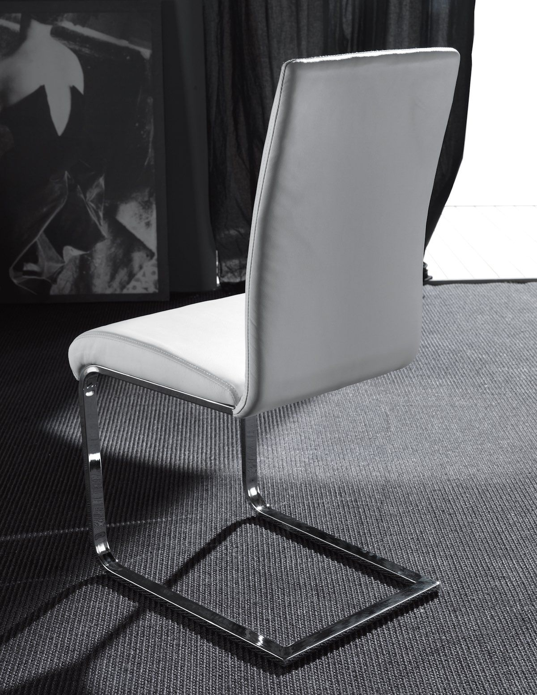Sedie A Slitta Moderne.Sedia A Slitta Moderna In Ecopelle E Metallo Aarno