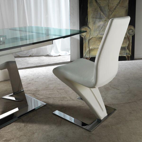 Sedia Design Moderno Per Sala Da Pranzo Hemmo In Ecopelle E Metallo Ebay