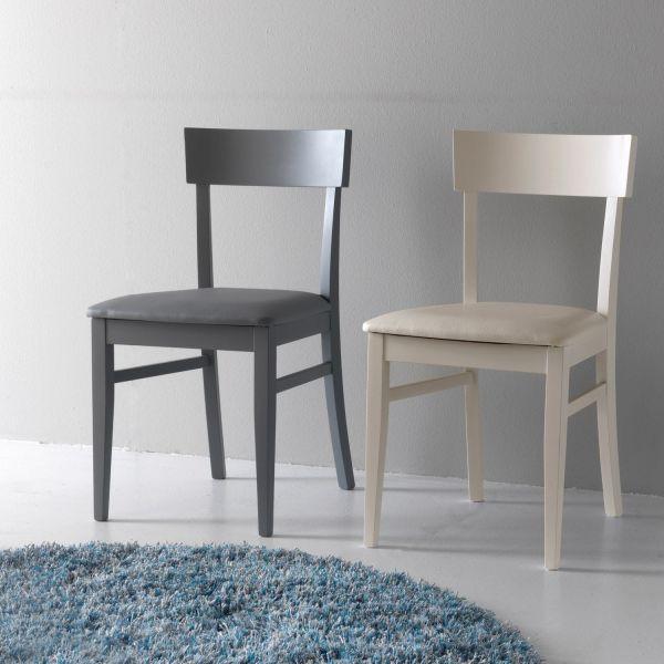 Sedia in legno ed ecopelle imbottita design moderno Candis