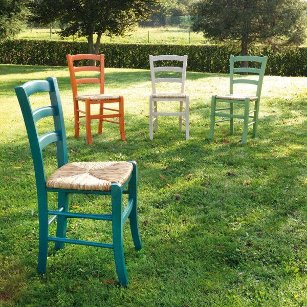 Sedia in paglia colorata per sala pranzo Coretta