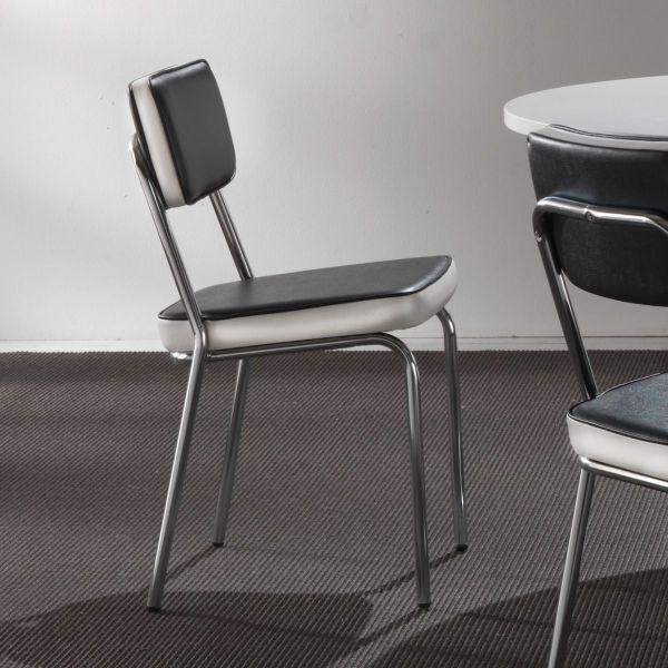 Sedia design in metallo ed ecopelle bianco o nero Dionne