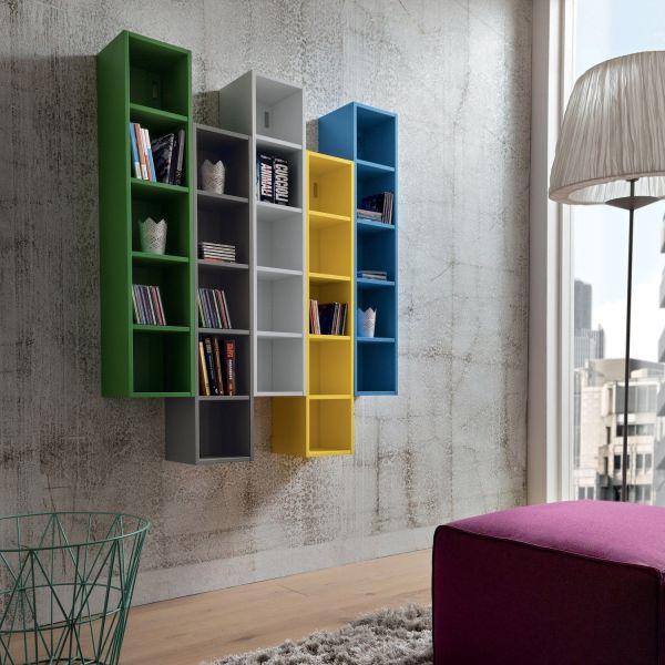 Libreria a parete composizione multicolore Eloise