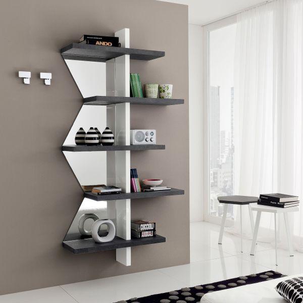 Libreria a parete con specchio Garnette2