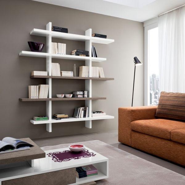 Libreria da soggiorno a parete moderna Garnette3
