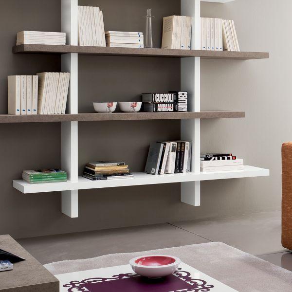 Dettagli su Libreria da soggiorno GARNETTE3 a parete moderna bianco lucido  e esterel
