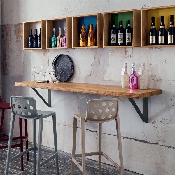 Mensola moderna in legno massello 100 o 200 cm per bar e pub Elias
