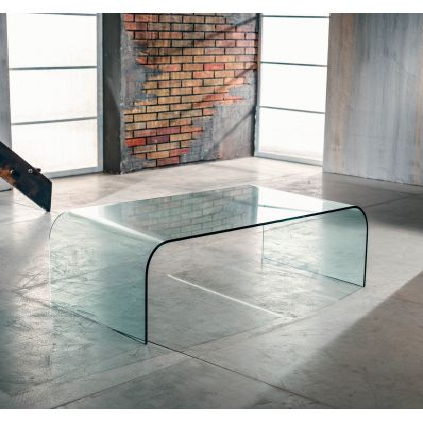 Tavolino rettangolare in vetro curvato 110 x 60 cm Stefan