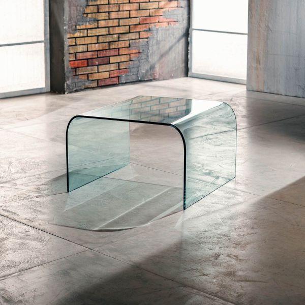 Tavolino quadrato in vetro curvato trasparente 60 x 60 cm Kristen