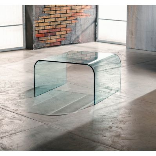 Tavolino quadrato Kristen in vetro curvato trasparente 60 x 60 cm