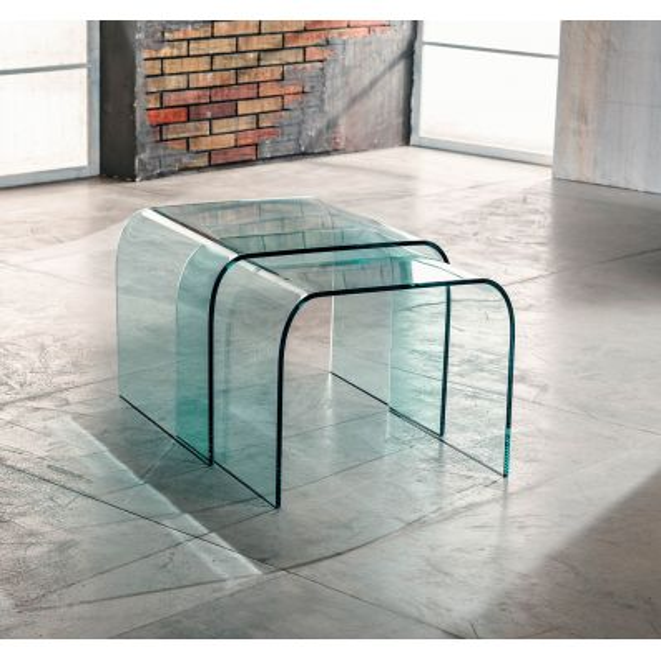 Coppia tavolini in vetro curvato sovrapponibili 48 x 48 cm Britta