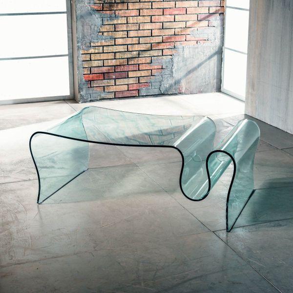 Tavolino in vetro curvato con portariviste 110 x 60 cm Ralf