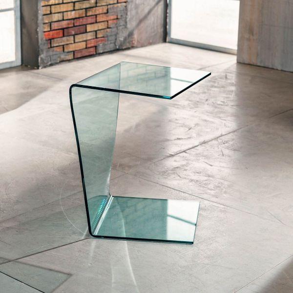 Tavolino in vetro curvato lato divano 40 x 40 x 60 cm Sabine