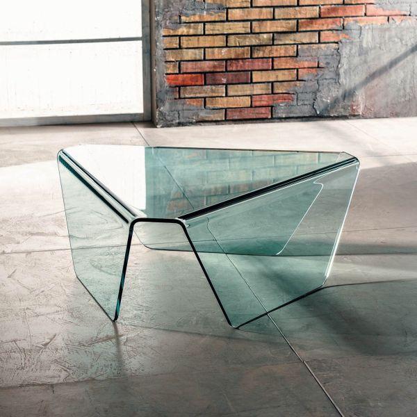 Tavolino da salotto in vetro triangolare a 3 gambe Kettering