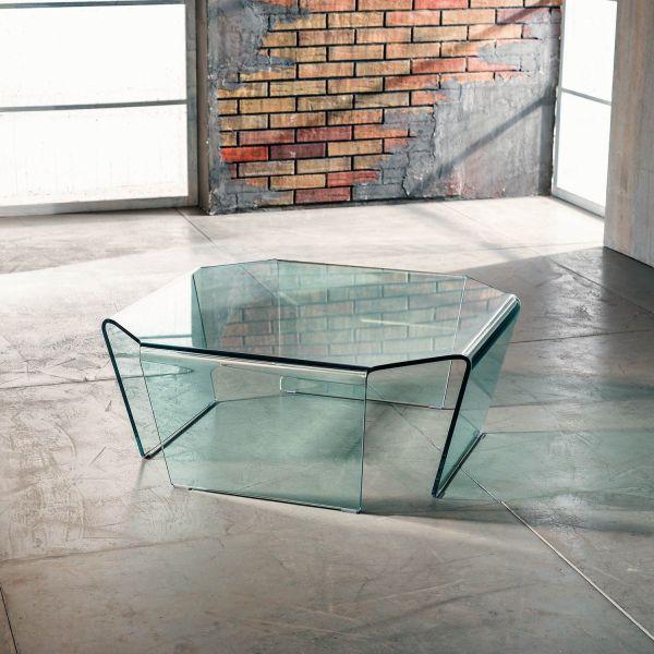Tavolino quadrato in vetro curvato a 4 gambe 80 x 80 cm Telford
