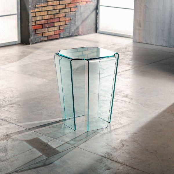 Tavolino lato divano in vetro curvato trasparente Morley