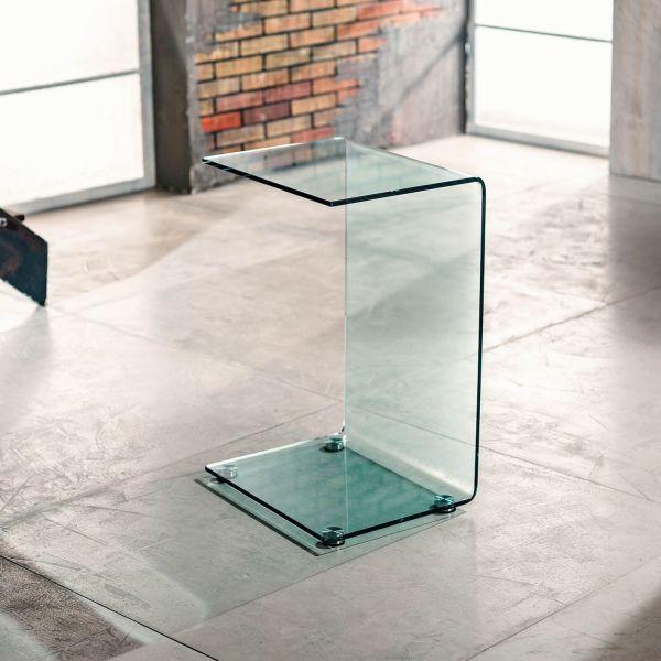 Tavolino lato divano in vetro curvato trasparente Jorge