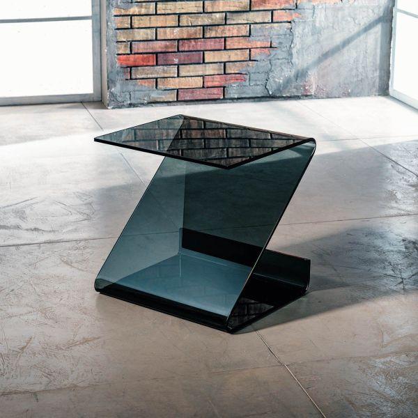 Tavolino lato divano in vetro curvato grigio trasparente Bram