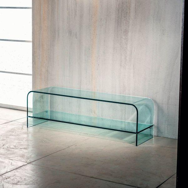 Tavolino porta TV Katie in vetro curvato 120 x 35 cm