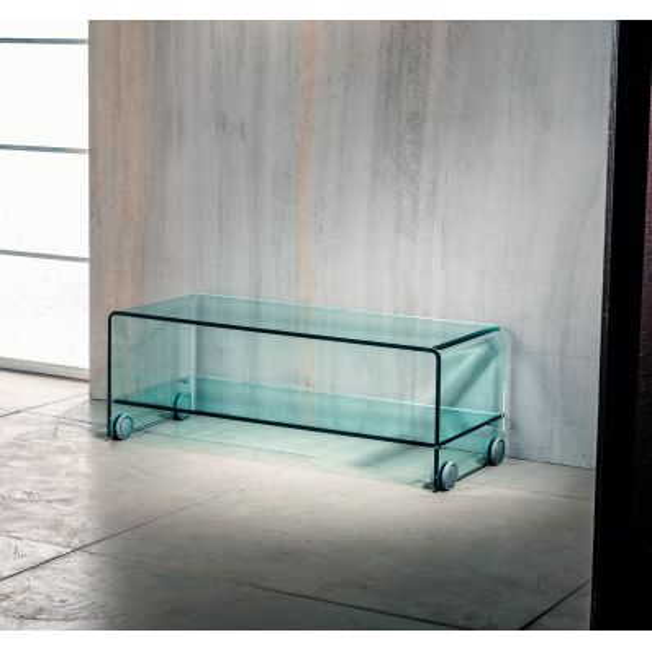 Tavolino porta TV Leonid in vetro curvato su ruote 100 x 40 cm