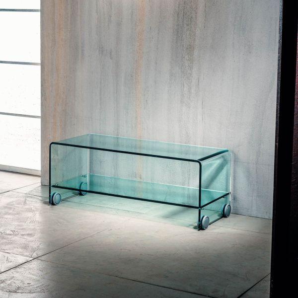 Tavolino porta TV su ruote in vetro curvato trasparente Leonid