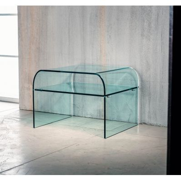 Comodino in vetro curvato temperato con ripiano Ruben
