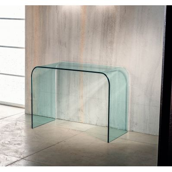 Consolle per ingresso in vetro curvato trasparente Joshua