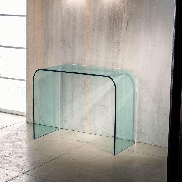 Consolle per ingresso Joshua in vetro curvato a ponte 88 x 44 cm