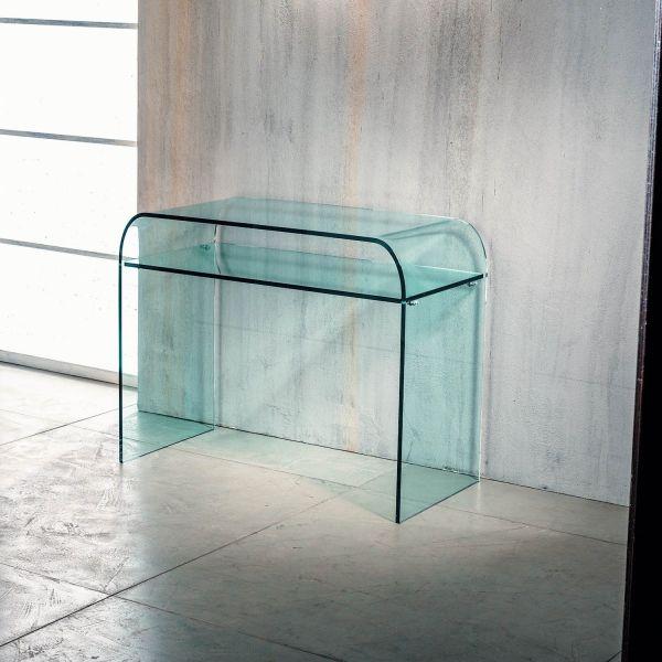 Consolle da ingresso in vetro curvato con ripiano Daniel